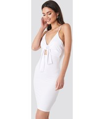 na-kd party tie front ribbed midi dress - white