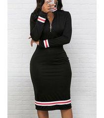 cremallera negra diseño parche de rayas vestido