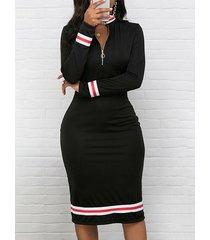 cremallera negra diseño patch stripe vestido