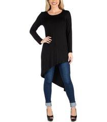 24seven comfort apparel women full length long sleeve asymmetric hem top