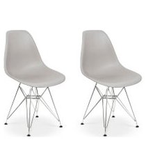 conjunto 02 cadeiras charles eames eiffel base metal design - cinza