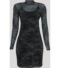 vestido de tule feminino curto estampado camuflado manga longa gola alta verde militar