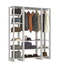 guarda roupa closet 3 peças 2 cabideiros e 12 nichos yes nova mobile branco