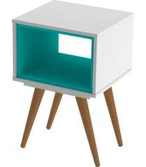 mesa lateral retrã´ 40 branco e turquesa olivar - branco - dafiti