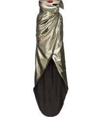 ronald van der kemp high-waisted silk-lurex blend wrap skirt -