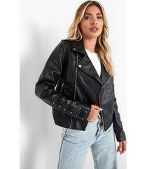 biker jas met metalen ringetjes in de mouwen, black