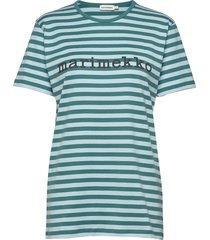 logo lyhythiha t-shirt t-shirts & tops short-sleeved blå marimekko