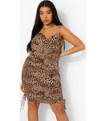 plus geplooide satijnen luipaardprint mini jurk, leopard