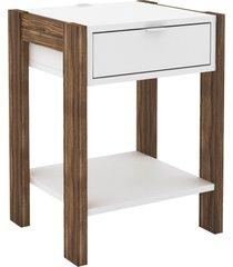mesa de cabeceira, cã´moda, tecno mobili, az101 branca/marrom - branco - dafiti