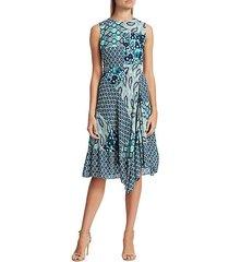 azure mixed print a-line dress