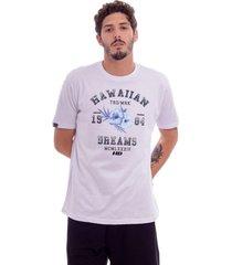 camiseta hawaiian dreams estampada varsity branca - kanui