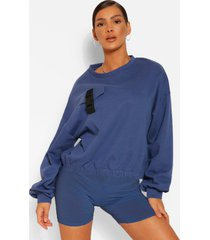 sweater met zakken en gesp detail, indigo