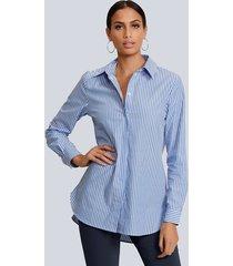 blouse alba moda blauw::wit