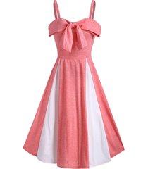 bowknot contrast color cami mid calf dress