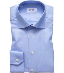 men's eton slim fit houndstooth dress shirt, size 14.5 - blue