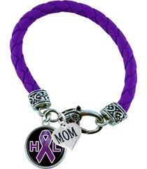 custom bracelet hodgkin's lymphoma awareness ribbon choose mom or dad charm only