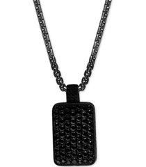 "effy men's black spinel dog tag 22"" pendant necklace in black pvd over sterling silver"