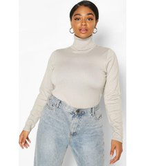 plus roll neck fitted sweater, grey