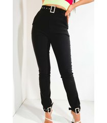 akira kelly rhinestone buckle detail pants