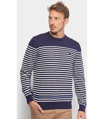 blusa tricot acostamento listras manga longa masculina