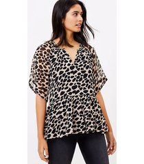 loft cheetah print tiered top