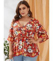 yoins plus talla red wrap diseño blusa con cuello en v con estampado floral al azar