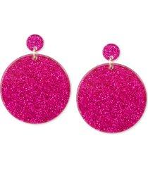 zenzii gold-tone glitter resin circle drop earrings