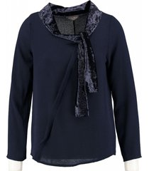 amélie & amélie blauwe polyester stretch blouse 7/8e mouw