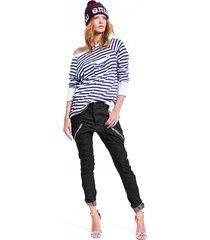 spodnie damskie forever united jeans zips czarne
