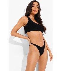 badstoffen mix & match bikini top met eén blote schouder, black