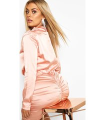 plus high neck ruched back satin mini dress, taupe
