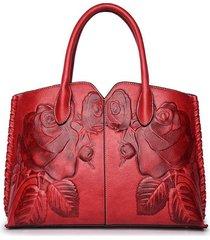 donna retro borsa a mano in pelle pu con goffratura di peonia di stile cinese con grande capcacità borsa a tracolla