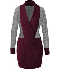 plus size shawl collar color block knit dress