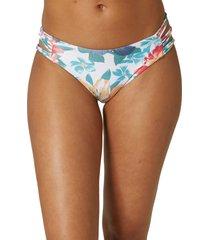 women's o'neill boulders arbor strappy floral bikini bottoms, size small - white