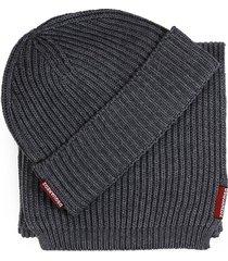 dsquared2 warmy grey scarf+beanie set