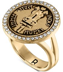rachel rachel roy gold-tone pave coin statement ring