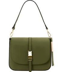 tuscany leather tl141598 nausica - borsa a tracolla in pelle verde oliva