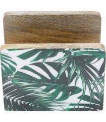 porta guardanapo bon gourmet em madeira leaf verde