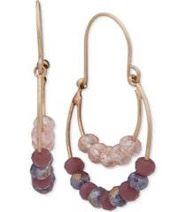 lonna & lilly gold-tone beaded double-row drop earrings