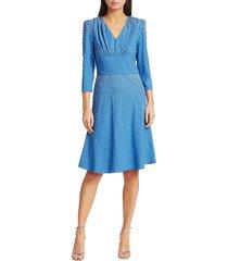michael kors women's embellished studded fit-&-flare dress - cadet - size 4