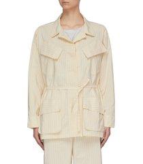 'vanna gess cupro' belted pinstripe cargo pocket jacket