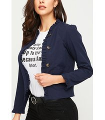yoins bolsillo lateral delantero con botones azul marino diseño abrigo