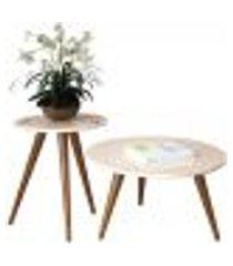 mesa de centro e lateral sala de estar recepção pés palito tailân off white - gran belo