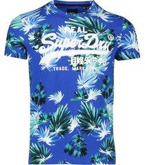 superdry t-shirt brush palm blauw