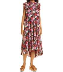 women's cinq a sept ricki floral ruffle silk dress, size 4 - red