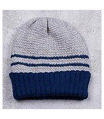 men's alpaca blend hat, 'winter's embrace in blue' (peru)