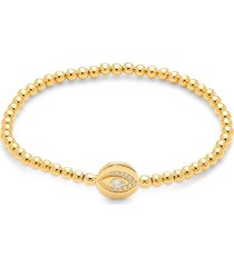 adriana orsini women's goldtone & crystal evil eye beaded bracelet
