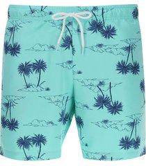 pantalóneta de baño palmeras color azul, talla xl