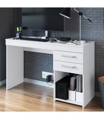 mesa para computador 2 gavetas mt102 branco - decibal móveis