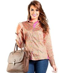 camisa slim estampa colorida carlos brusman feminina